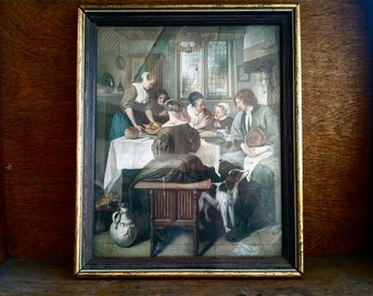 Vintage Dutch Prayer before Meal Print Wood Frame Jan Steen Religious circa 1960's / English Shop