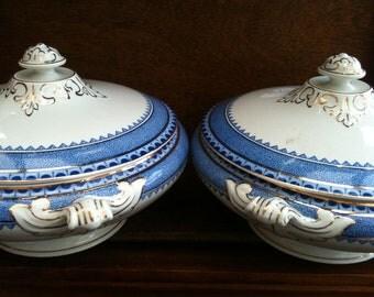 Vintage English Blue and White Terrines Tureen Dish Bowl Set of 2 circa 1940's / English Shop