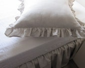 Linen bedskirt, Twin XL FULL, Queen linen Dust ruffle Bed skirt solid gray ivory white beige denim blue college dorm bedding by Nurdanceyiz