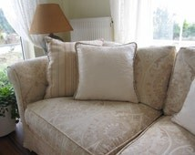 Ivory Ecru ELEGANT decorative throw pillow, accent cushion covers cord trim, chenille 18 inch, sofa couch pillow