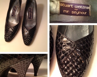 Vintage Snakeskin Shoes by Stuart Weitzman Navy Blue Sz 5.5