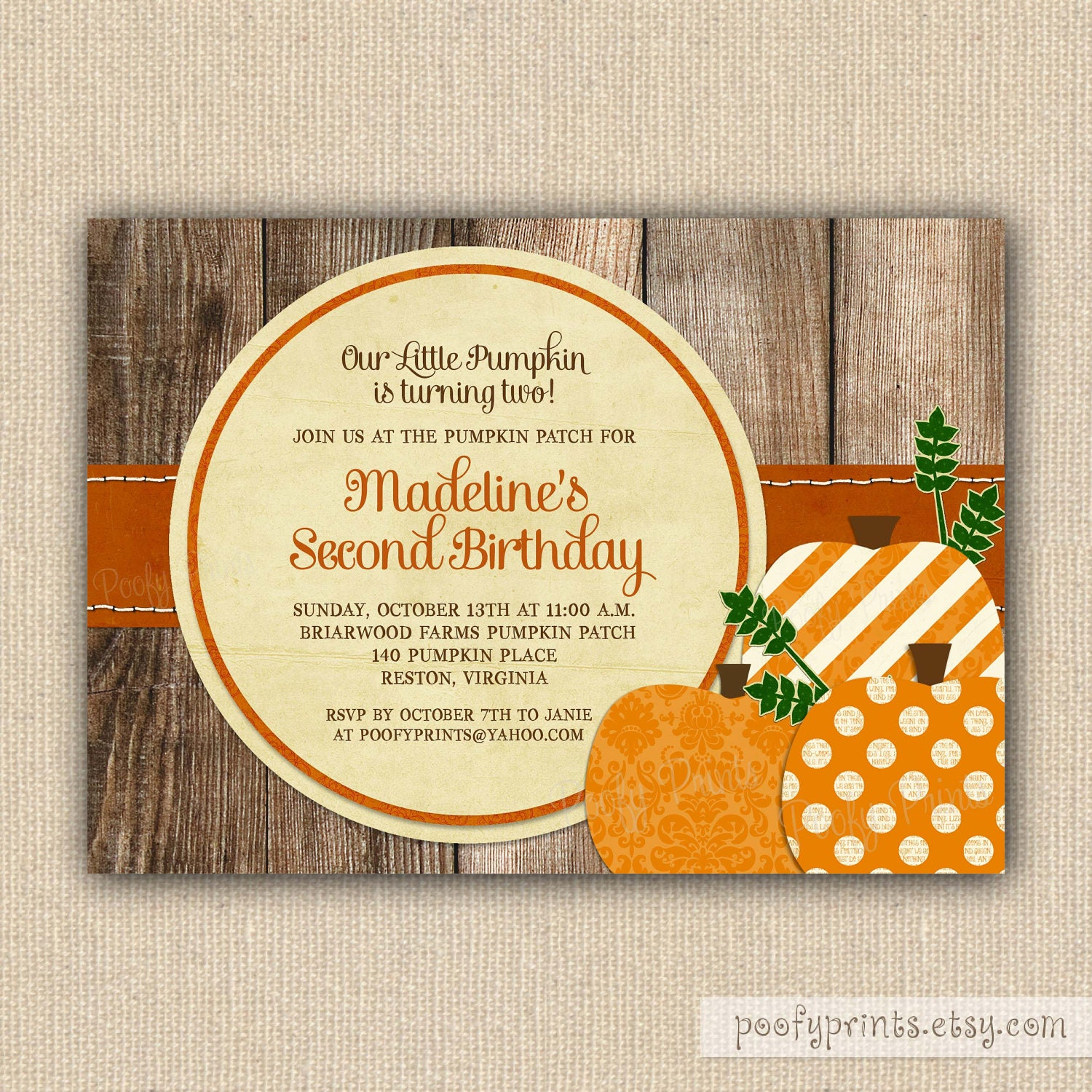 Pumpkin Patch Birthday Party Invitations Printable By