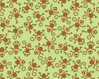 SALE 1 Yard of Zoofari Green Monkeys by Doodlebug Design for Riley Blake