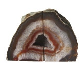 Sliced Pair of Dark Chocolate Agate and Creamy Crystalline Quartz Geode Bookends