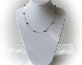 14K Gold Necklace accented with Cateye Beads