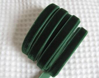 3 Yards Green Velvet Ribbon 3/8 inch - 04