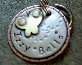 Dog ID Tag and key fob-  personalized butterfly tag for dogs