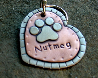 Large Dog ID tag- metal heart pet id tag- dog name tag with paw print- Nutmeg