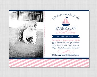 Preppy Nautical Collection: Printable Birthday Photo Invitation (Color Choice)