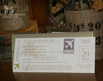 PRINTED 25 Airplane ticket Invitations,  Bridal or honeymoon shower, set of 25
