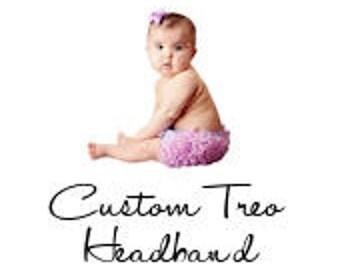 Custom Baby Headband Flower Treo Rosette Headband with Rhinestone Center