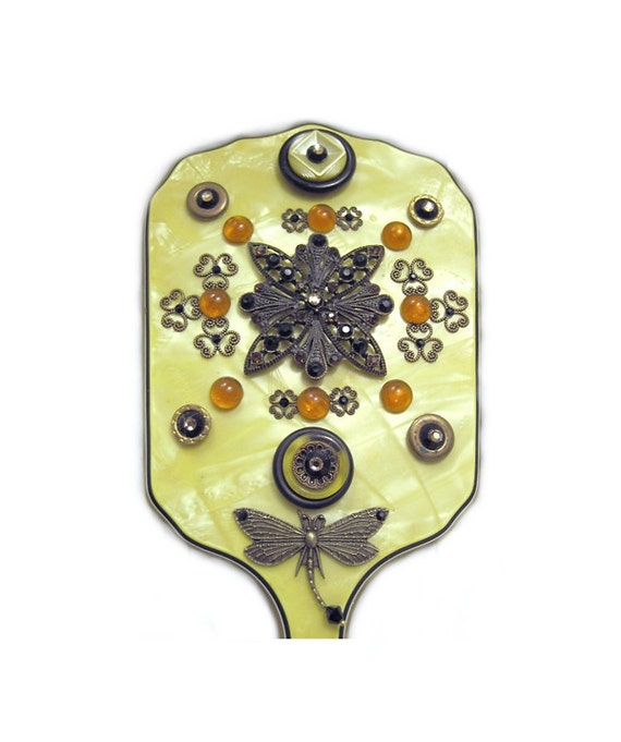 Hand Mirror, Upcycled Vintage Hand Mirror, Yellow Celluloid Mirror, Antique Bronze , Amber Accents., Fantasy Art Mirror, Wedding Accessory