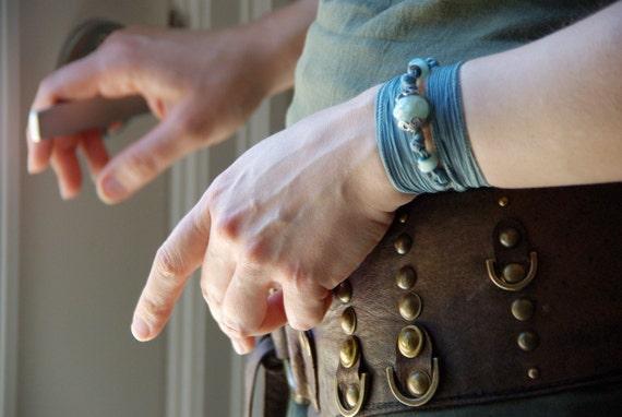 Blue Bohemian Silk Wrap Bracelet, Glass and Thai Silver, Summer Silk Ribbon Bracelet, Yoga Jewelry, Boho Shabby Chic Gypsy Choker Necklace,