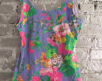 Vintage Multicolor Floral Tank Top M/L