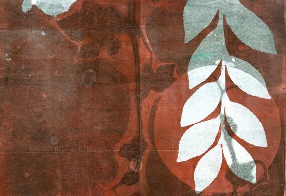 blank note card set of 4, original botanical monoprint