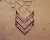 Brown Leather Chevron Necklace (Large)