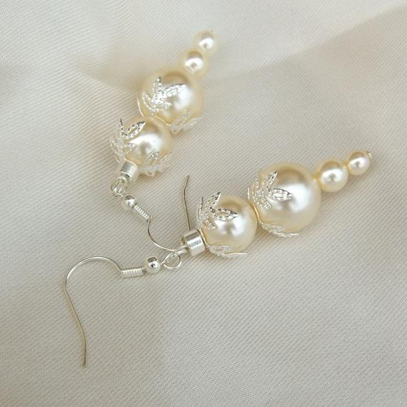 Creamy Ivory glass pearls, silver filigree bead caps Winter Wedding earrings