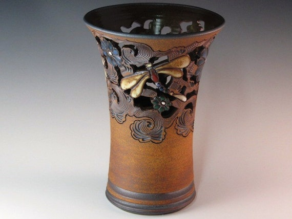 Beautiful Trumpet Type Vase With Flowers, Dragonflies, And Swirl Design