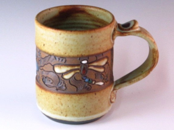 Mug With Dragonflies And Blue Flower With Swirl Design