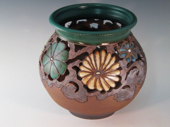 Large Hand Carved Vase With Flowers, Texturing, And Swirl Design