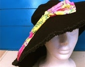 SALE - Black Floppy Hat with Superbow in hot pink and yellow