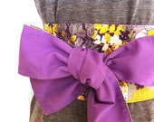 SALE! Reversible Obi Belt in Purple & Yellow Floral