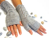 Gray Fingerless Gloves, Wool Mittens, Women Arm Warmers with cable pattern, Handmade, Handknitted, Eco Friendly