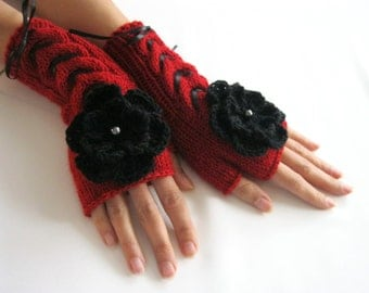 RED and BLACK...Fingerless Gloves, Wool Mittens, Women Arm Warmers with cable pattern , flowers and satin ribbon, eco friendly