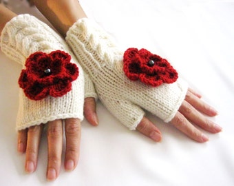 IVORY  and RED...Fingerless Gloves, Wool Mittens, Arm Warmers with cable pattern and crochet flowers, Hand Knitted, Eco Friendly