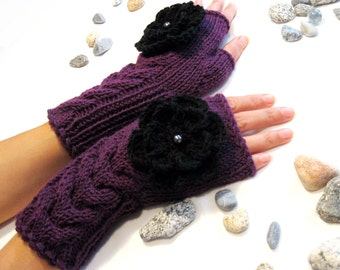 PURPLE and BLACK...Fingerless Gloves, Wool Mittens, Arm Warmers with cable pattern and crochet flowers, Hand Knitted, Eco Friendly