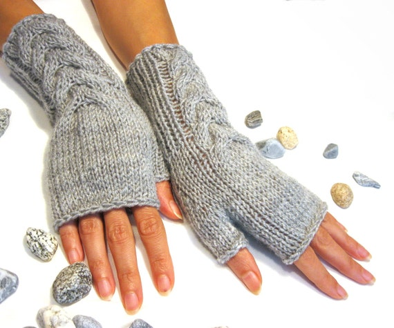 Gray Fingerless Gloves Wool Mittens Women Arm Warmers With