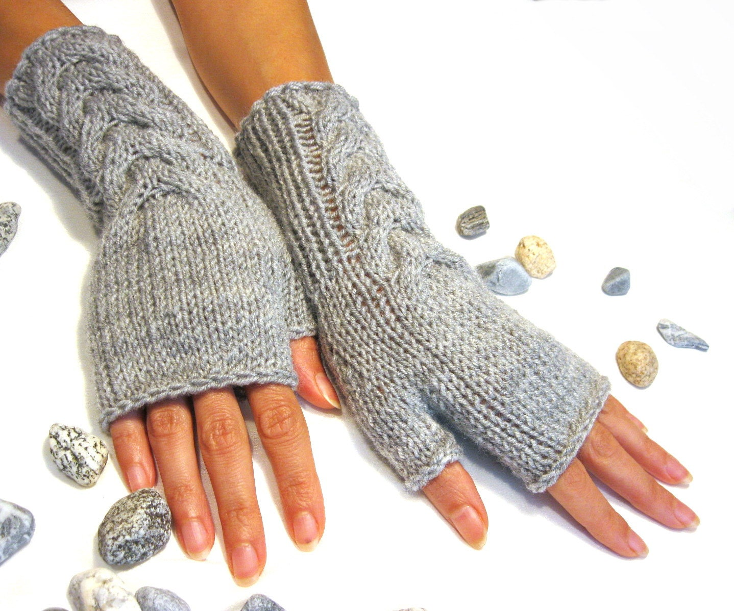 Knitting Pattern Fingerless Gloves Mittens : Gray Fingerless Gloves Wool Mittens Women Arm Warmers with