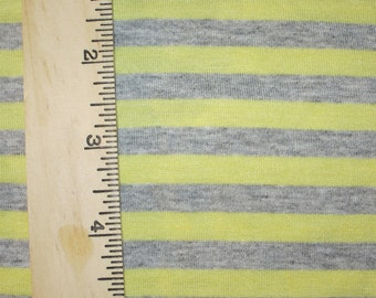 "Apx. 3/8"" Yellow & Heather Grey Cotton Blend Stripe Knit FAbric"