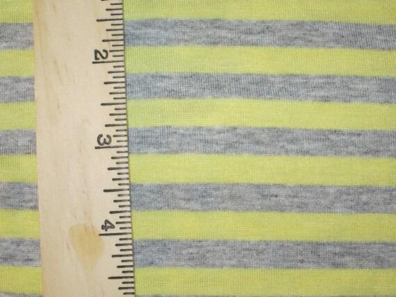 "Apx. 3/8"" Yellow & Heather Grey Cotton Blend Stripe Knit FAbric"