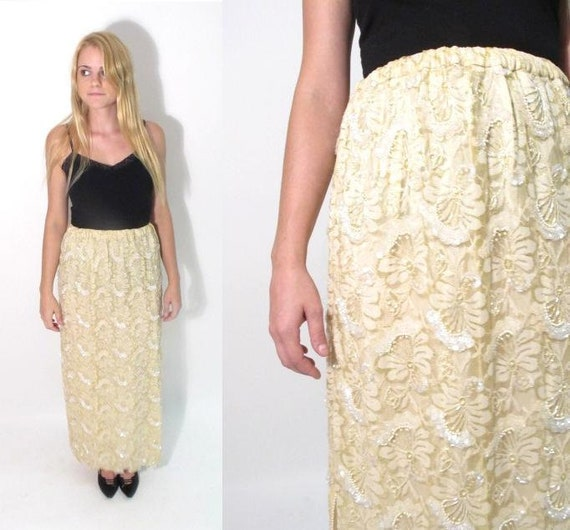 RESERVED for M G. 1970s Pale Yellow Beaded Lace Maxi Skirt/Tube Dress. Size S-M.
