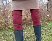 ON SALE - Organic Clothing - Leg Warmers - Organic Merino Wool - Shown in Wine - Made to Order