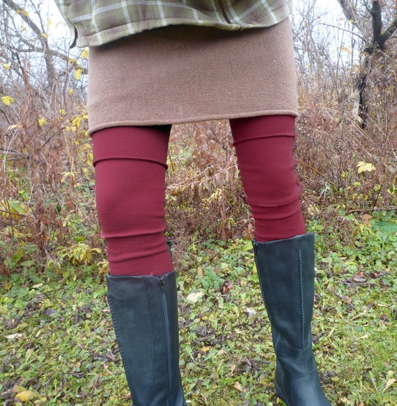 ON SALE - Organic Clothing - Leg Warmers - Organic Merino Wool - Shown in Wine - Made to Order