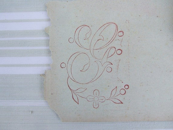 Embroidery  Rubber Stamp Monogram letter G French