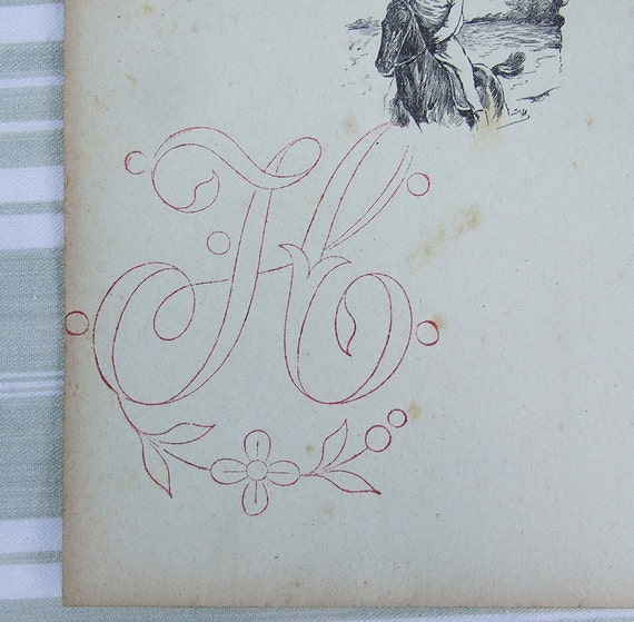 Embroidery  Rubber Stamp Monogram letter H French