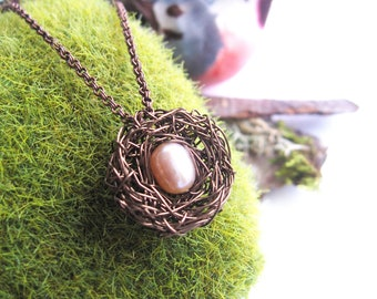 Antique Brass New Mother Necklace, personalized gifts for mom, Petite Birds Nest, Under 50