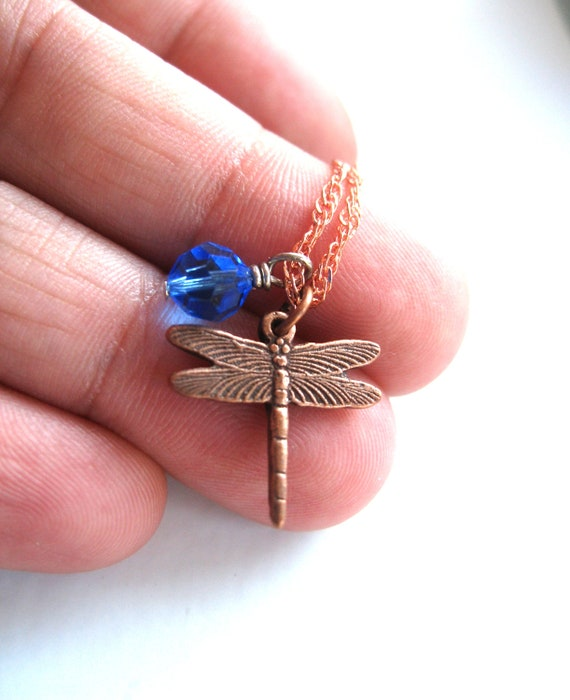Dragonfly necklace, September Birthstone, Blue Fashion, Antiqued brass Pendant necklace