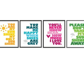 You are my sunshine - Set of Four 8x10 prints - Yellow, Blue, Pink, Green