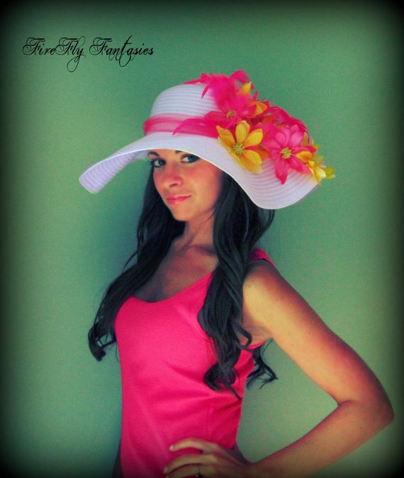 Tropical Islands - Flower and Feathers Floppy Hat Sun Straw Beach Wedding Garden Party Kentucky Derby