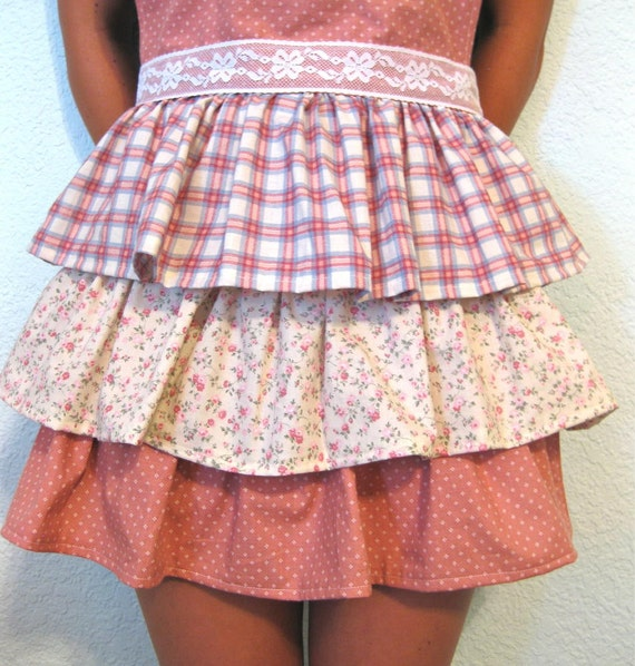Apron 3 Tiered Ruffled Full Apron Country Pink and Cream Plaid Floral