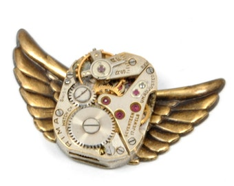 Steampunk Hat Pin WINGS Steam Punk Brooch Pin Vintage Watch Pin Wings Steam Punk Top Hat Pin Steampunk Jewelry by Victorian Curiosities