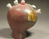 Menopausal Mind Ceramic Sculpture with Bones and Edv. Munch decals