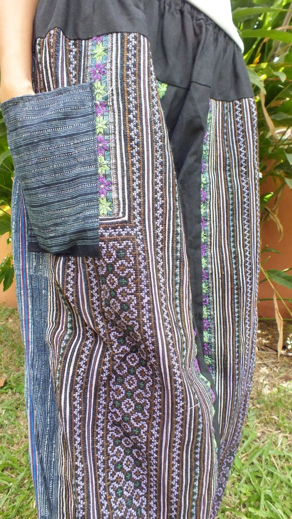 Handmade Vintage Hmong Fabric, Cross stitched ethnic tapersry-Yoga trousers and pants