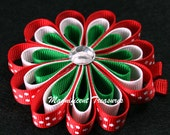 Red, Green, and White Loopy Ribbon Flower Hair Clip