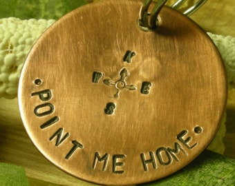 Handstamped Pet ID Tag - Compass-Compass Rose-Dog ID Tag