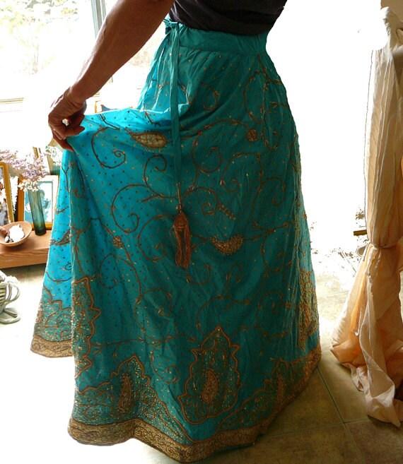 long dancing silk skirt, embroidered jari indian wedding skirt tatty goddess gypsy bohemian princess